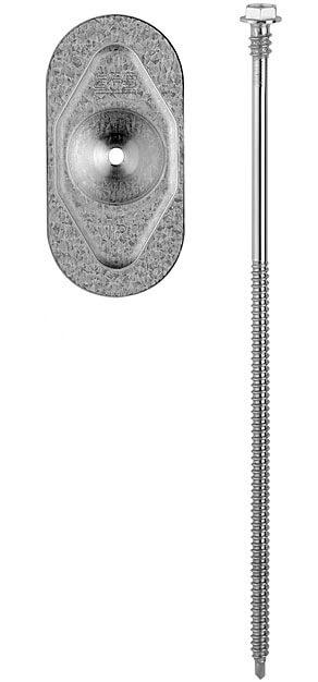 a) podkładka dociskowa wraz ze stalowym łącznikiem samowiercącym