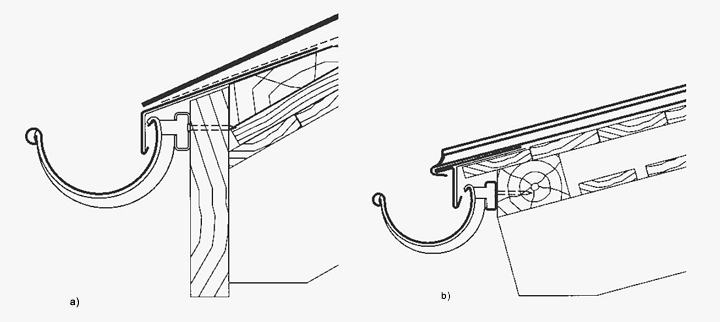 a) Okap przy desce czołowej z dachówkami, b) Okap przy pokryciu z RHEINZINK® na rąbek stojący