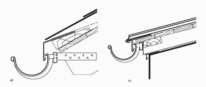 a) Okap przy z kotwą szynową przy kątowym zakończeniu krokwi. mocowanie przy zastosowaniu 3 sztuk samowkrętów 5,0 x 45 mm, b) Okap przy pokryciu z RHEINZINK® na rąbek stojący