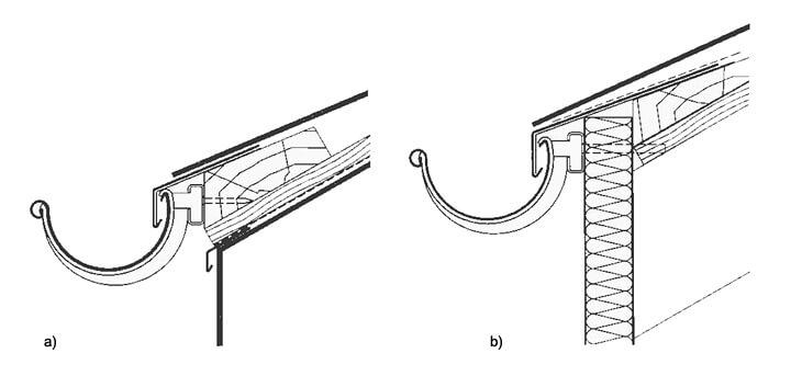 a) Okap z łatą okapową i kontrłatą a dachówkami, b) Okap przy elementach prefabrykowanych