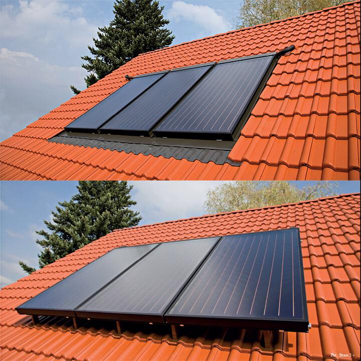 Fot. 3. Instalowanie kolektorów w połaci dachu jest bardziej estetycznym rozwiązaniem, natomiastmontaż na dachu jest łatwiejszy i szybszy.