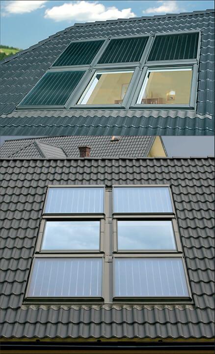 Fot. 4. Kolektory solarne oferowane przez producentów okien dachowych mają takie same wymiaryjak okna. Pozwala to montować kolektory w zespoleniach z oknami, z użyciem dostosowanychdo tego kołnierzy uszczelniających. Dzięki temu rozwiązaniu na dachu powstaje spójnai estetyczna kompozycja.