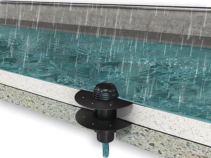Jednoczęściowy wpust dachowy Flavent® plus pionowy dla dachu niewentylowanego.