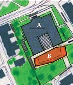 """A - Obecna biblioteka,z oszklonym ogrodem.  B- przybudówka""""Przyrodni brat"""