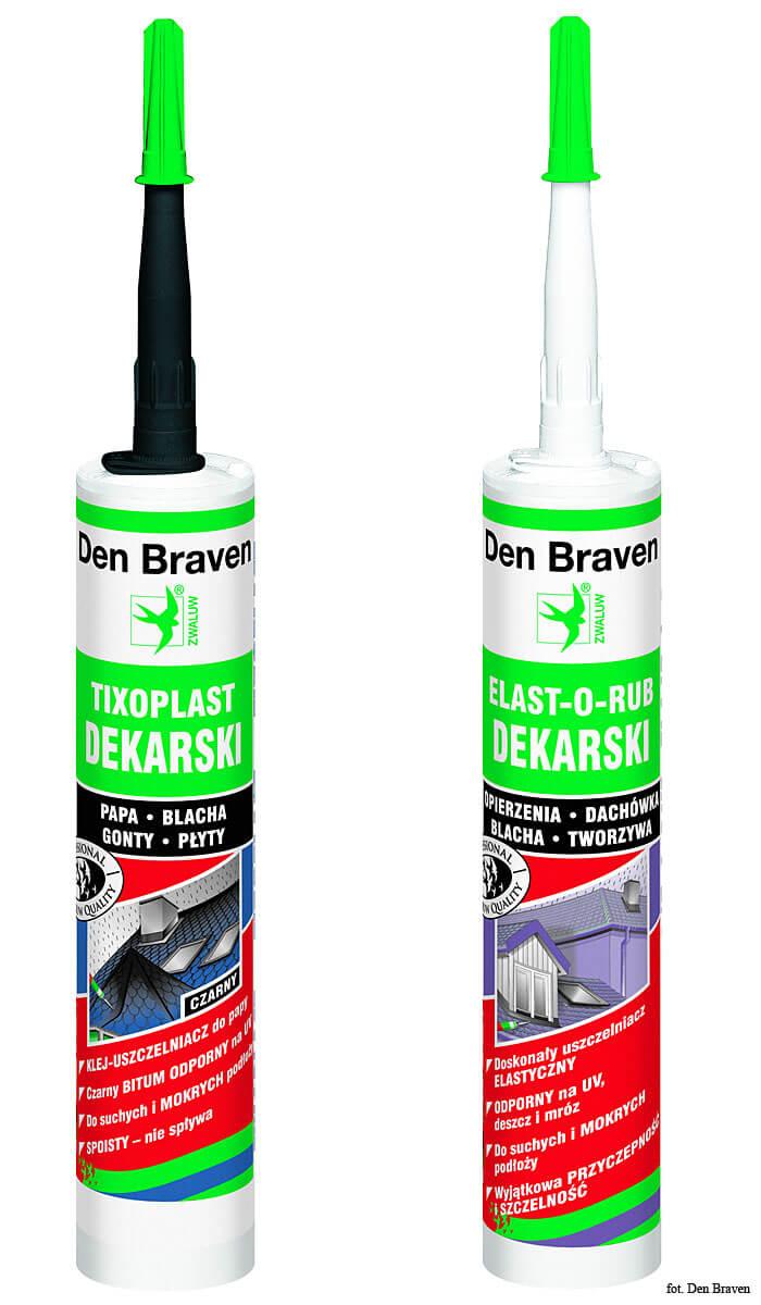Uszczelniacz Elast-O-Rub oraz kauczuk dekarski firmy Den Braven