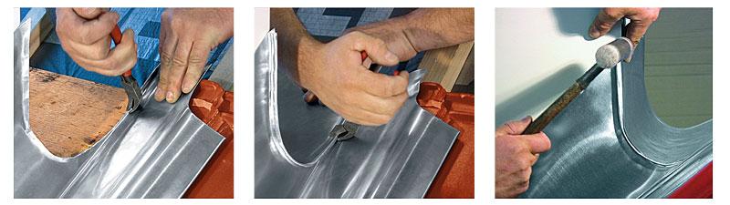 Fot. 2. Połączenia od strony kalenicy: a) przygotowanie rąbka kołnierza tylnego, b) zaciśniecie rąbka, c) doklepanie rąbka młotkiem plastikowym.