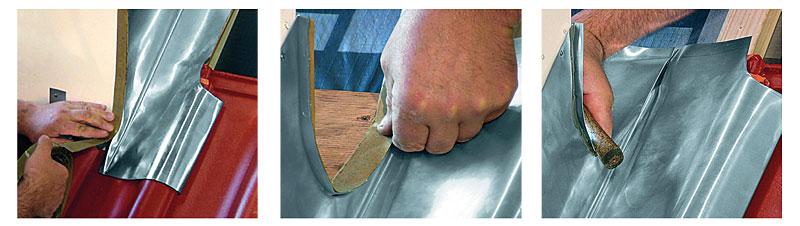 Fot. 5. a) użycie paska klejącego, b) przygotowanie połączenia klejonego, c) zawijanie fartucha kołnierza bocznego.