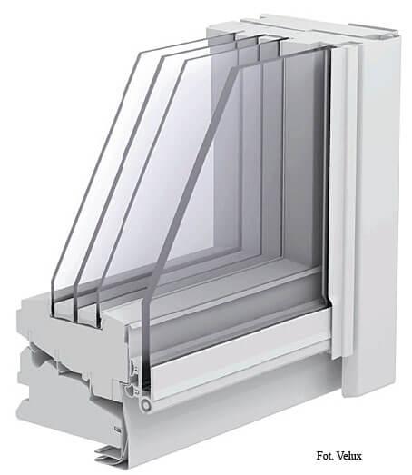 Fot. 3. Okno z oszkleniem trójkomorowym. energooszczędne okna dachowe
