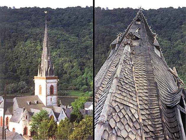 Wieża kościoła w miejscowości Ediger – pokrycie z łupka liczy sobie około 500 lat