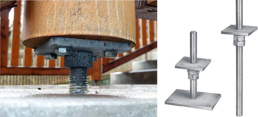 Fot. 3 Podstawa ukryta PPS/PPB z poziomą blachą górną. Stalowe podstawy słupów drewnianych