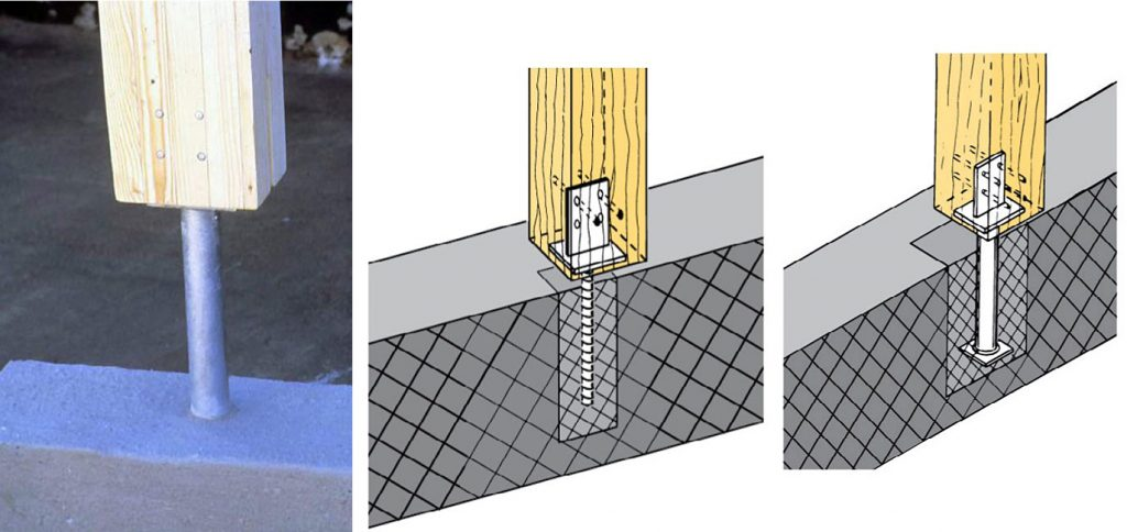Fot. 4 Podstawa ukryta PI/PIL z pionową blachą górną. Stalowe podstawy słupów drewnianych