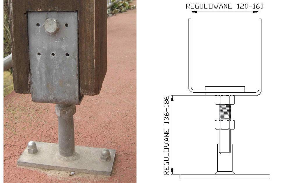Fot. 6 Podstawa słupa PVDB z regulacją pionową i poziomą. Stalowe podstawy słupów drewnianych