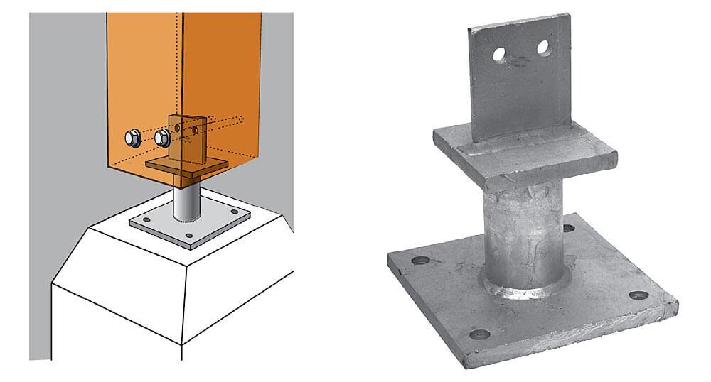 Fot. 7 Podstawa słupa PISBMAXI do dużych obciążeń. Stalowe podstawy słupów drewnianych