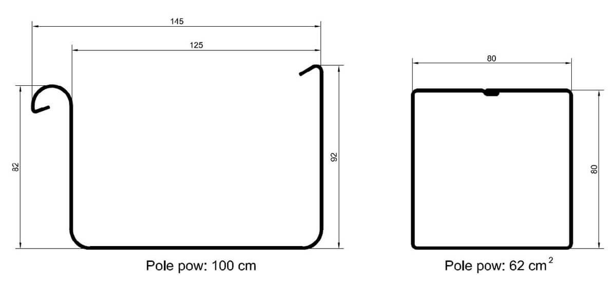 Rys. 2. Przekrój rynny i rury spustowej w systemie Galeco STAL2.