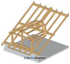 Rys. nr 4. Lukarna baryłkowa, konstrukcja na pochylonych płatwiach.
