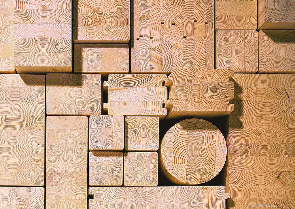 Przekroje elementów z drewna klejonego.