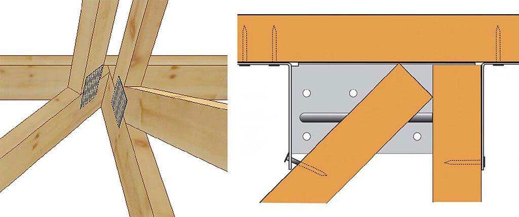 Rys. 8. Połączenie podwójne pod kątem 45° z użyciem wieszaka ETC434.