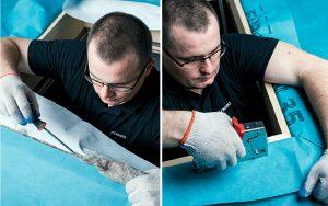 Fot. 11. Szczelinę pomiędzy skrzynką a otworem wypełniamy materiałem termoizolacyjnym – wełną owczą. Następnie kołnierz paroprzepuszczalny łączymy z membraną.