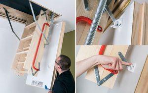 Fot. 12. Montujemy klapę schodów za pomocą 4 plastikowych uchwytów. Każdy z uchwytów zamykamy intuicyjnym kliknięciem.
