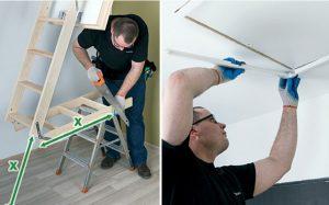 Fot. 13. Dopasowujemy długość drabinki do wysokości pomieszczenia. W celu szybkiego i estetycznego zamaskowania szczelin wokół schodów możemy zamontować listwy wykończeniowe LXL-PVC.
