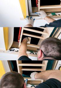 Fot. 8. Sprawdzamy kąty proste pomiędzy elementami skrzynki i przykręcamy jej przedni element. Uwaga: drewniana przekładka musi być wsunięta pomiędzy skrzynkę a otwór, za metalowym zaczepem zamka. Odkręcamy tylną łatę montażową.