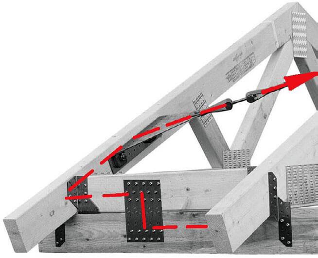 Fot. 6. Węzeł podporowy ze ścieżką przekazywania obciążeń ze stężenia.