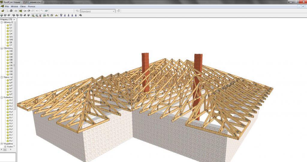 """Rys. 2. Widok konstrukcji dachowej w przeglądarce """"RoofCon Viewer"""". To darmowe oprogramowanie, do pobrania z sieci pozwala inwestorowi zapoznać się z oferowaną konstrukcją. Ułatwia też pracę cieśli montujących wiązary."""