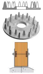 Fot. 3 Jednostronny pierścień Geka i jego zastosowanie w połączeniu stal-drewno.