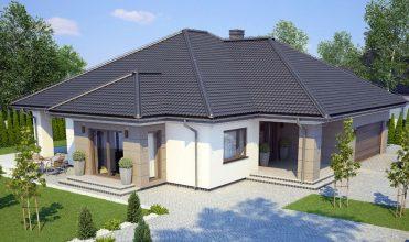 Fot. 1. Dom, do pokrycia którego została użyta blachodachówka modułowa Moderno (wizualizacja).