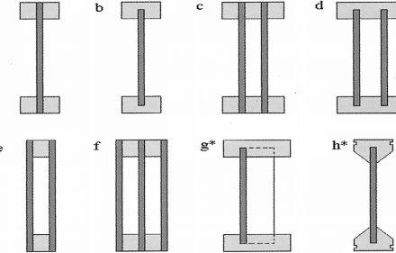 Rys. 1. Konstrukcje belek dwuteowych (źródło: Przewodnik): a) ze stopką dwuczęściową b) ze stopka jednoczęściową c) podwójna belka ze stopką trzyczęściową d) podwójna belka ze stopką jednoczęściową e) belka skrzynkowa f) belka dwuskrzynkowa g*) belka z tzw. środnikiem zygzak h*) belka systemu Tecton * konstrukcje opatentowane