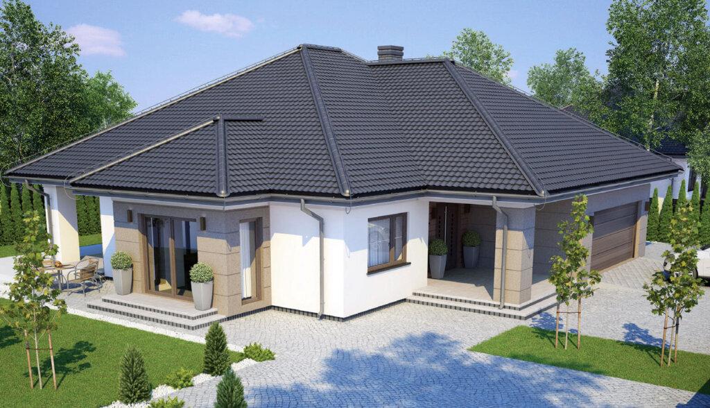 Wizualizacja domu z użyciem blachodachówki modułowej MODERNO.