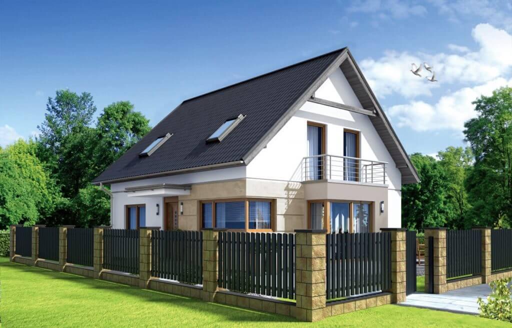 Wizualizacja domu z ogrodzeniem ze sztachet metalowych.