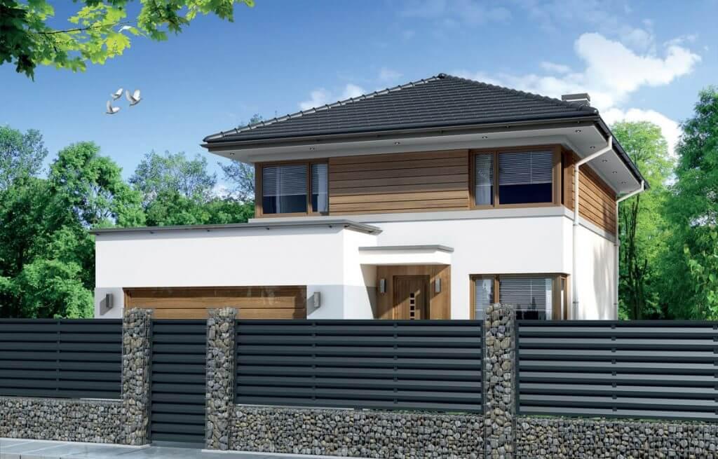 Wizualizacja domu z ogrodzeniem żaluzjowym.