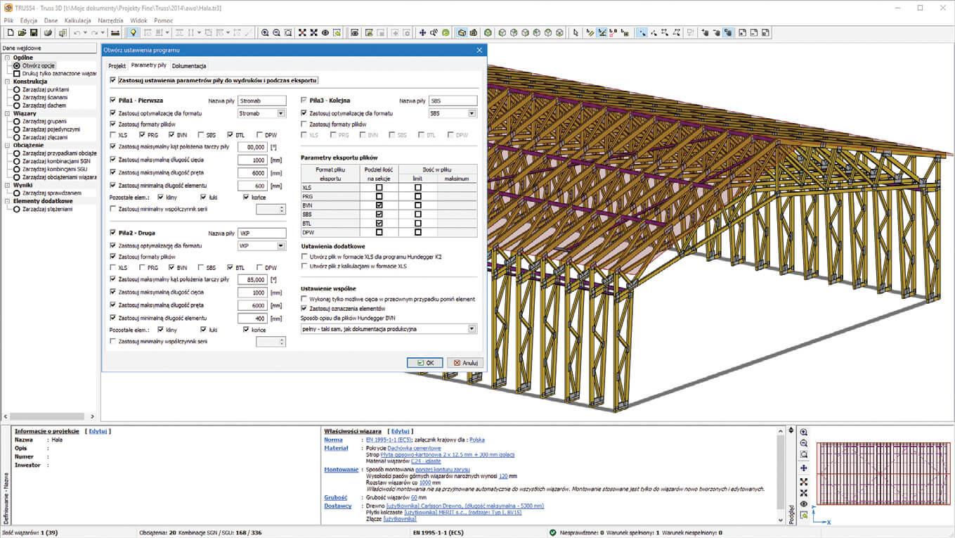 TRUSS4 umożliwia projektowanie hal przemysłowych i rolniczych w konstrukcji ramowej.