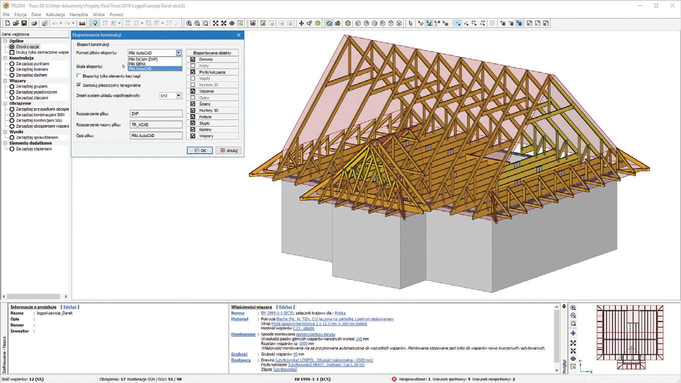 Przykład projektu konstrukcji dachu domu jednorodzinnego z użytkowym poddaszem.