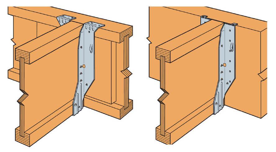 Zdj. 11. Wieszaki belki ITSE i IUSE przeznaczone do drewnianej belki dwuteowej (I-Beam).