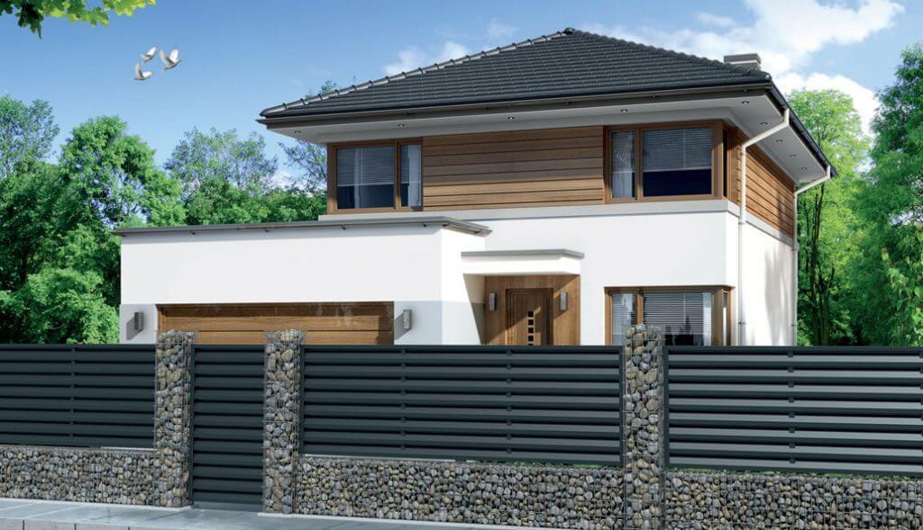 Wizualizacja domu z ogrodzeniem żaluzjowym i pokryciem z blachodachówki Malta