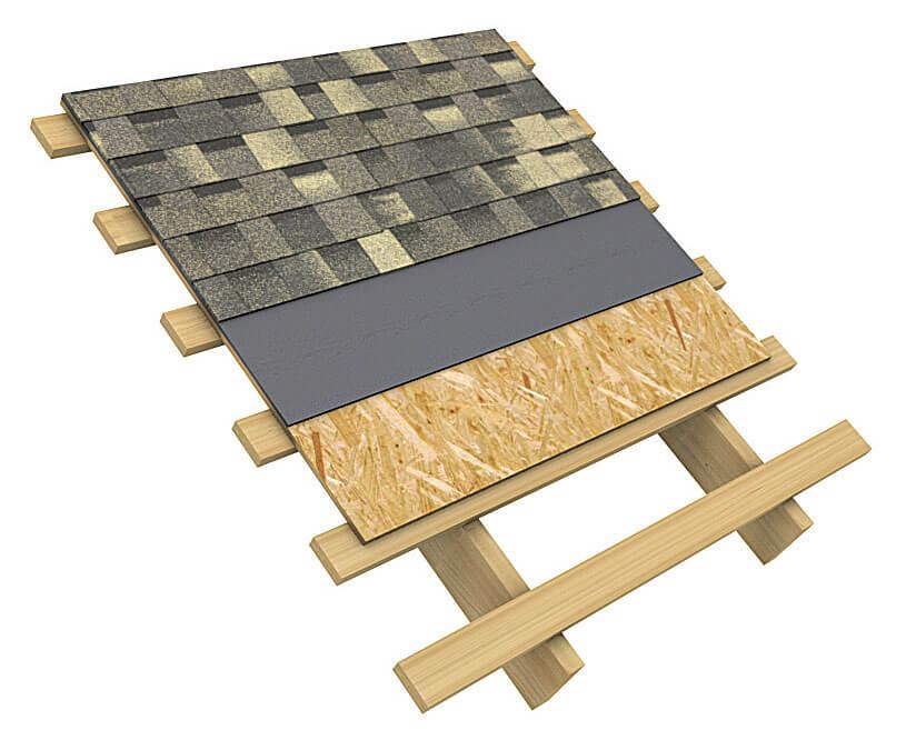 Przekrój połaci dachowej pokrytej gontem Technonicol