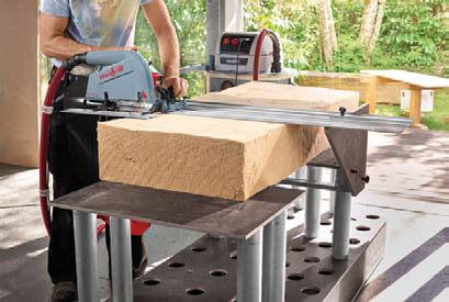 Dzięki specjalnej przystawce do stołu tnącego można perfekcyjnie przycinać elastyczne płyty izolacyjne
