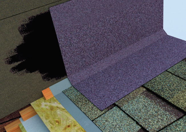 Montaż gontów. W przypadku obróbki przy ścianie z listwą trójkątną ważne jest wywinięcie pokrycia na wysokość co najmniej 10 cm. Listwa dociskowa zabezpiecza przed deszczem.