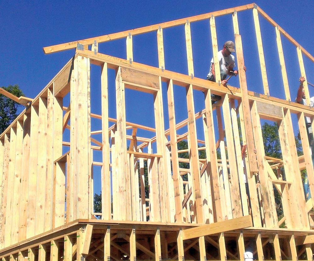 Zdj. 1. Budynek drewniany o konstrukcji szkieletowej