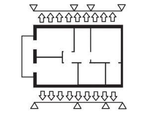 Rys. 3. Schemat podparcia oczepu przez ścianki poddasza
