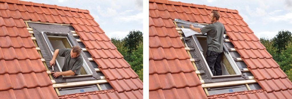 2. Kolejny etap to zaizolowanie okna przed wilgocią z zewnątrz – w tym celu możesz użyć folii paroprzepuszczalnej, która znajduje się w zestawie izolacyjnym VELUX BDX lub skorzystać z gotowej, sprzedawanej jako osobny produkt folii VELUX BFX. W zestawie znajduje się również rynienka odwadniająca, którą należy zamontować pod pokryciem dachowym, nad oknem.