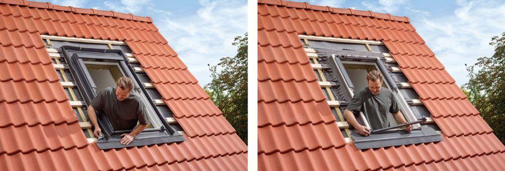 3. W kolejnym etapie ułóż pokrycie dachowe pod oknem oraz rozpocznij montaż kołnierza uszczelniającego od jego dolnej części. W przypadku pokryć profilowanych, pamiętaj o wstępnym przegięciu fartucha kołnierza w stronę pokrycia dachowego. Dzięki temu będzie prawidłowo i estetycznie przylegał do profilu pokrycia.
