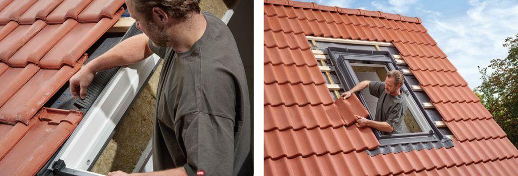 5. W ostatnim etapie ułóż pokrycie dachowe naokoło okna. Dzięki zastosowaniu nowych kołnierzy z elastyczną gąbką nie musisz już docinać jej i dopasowywać do każdej dachówki. Dzięki ukośnym nacięciom gąbka idealnie dopasowuje się do kształtu pokrycia dachowego. Zwróć uwagę na zachowanie prawidłowej odległości pomiędzy pokryciem dachowym a oknem. Po bokach 3-6 cm, nad oknem 6-15 cm.
