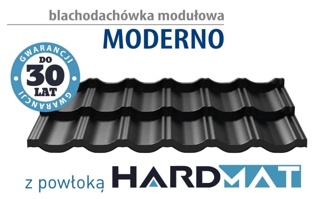 Blachodachówka modułowa MODERNO: grubość do 80 μm, do 30 lat gwarancji, najwyższa jakość ochrony przed promieniami UV, wysoka odporność na korozję, zgodnie z normą EN 10169