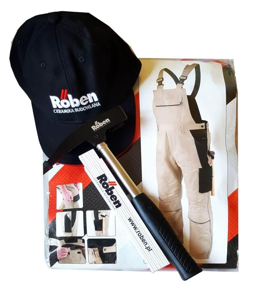III miejsce: Zestaw gadżetów dekarskich – spodnie robocze, młotek dekarski marki Stubai, miarka drewniana, czapka.