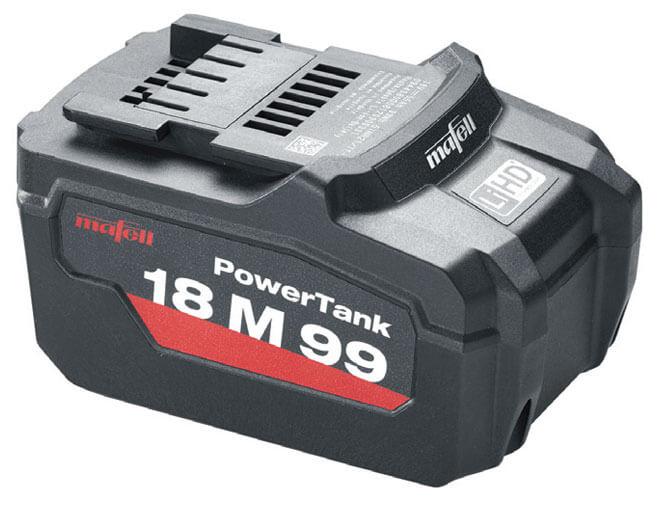 Pełna mobilność dzięki zasilaniu na akumulator 18 V, 5,5 Ah, Li-Ion.