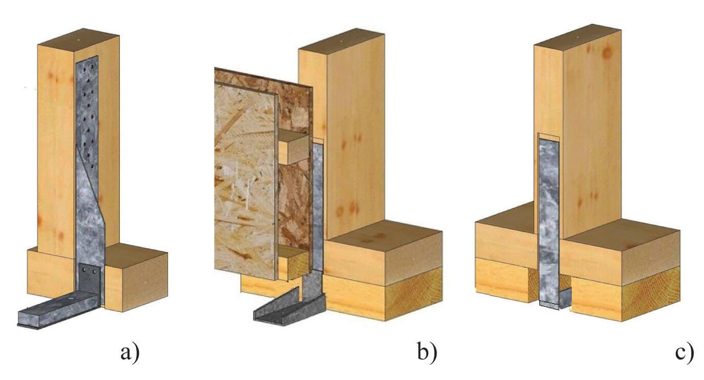 Zdj. 3. Przykłady montażu dwuczęściowych złączy kotwiących. Kotwienie ścian