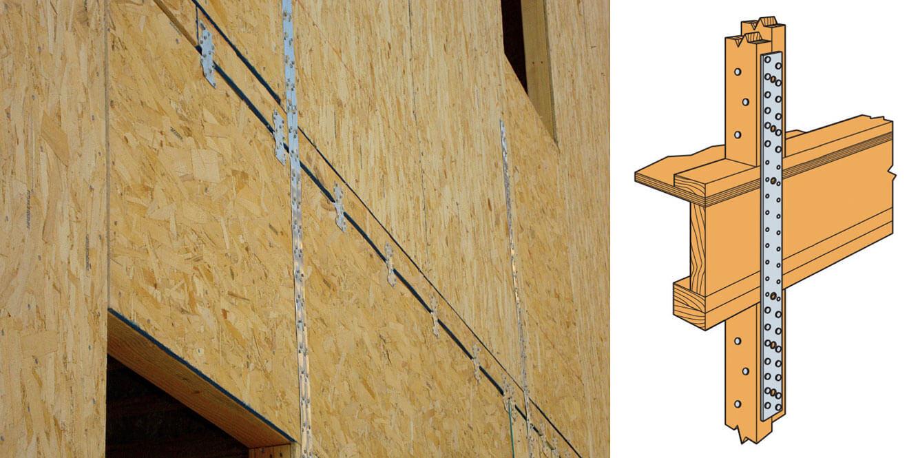 Zdj. 6. Paski perforowane łączące słupki sąsiadujących kondygnacji, pełniące role zakotwienia ściany piętra. Kotwienie ścian
